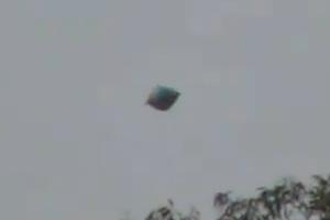 Dark, balloon like object filmed over Mexico
